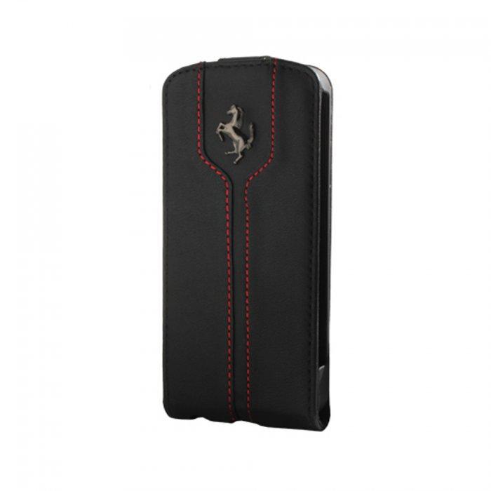 FERRARI Etui Portefeuille Rabat Cuir Noir Montecarlo pour iPhone 5 / 5S