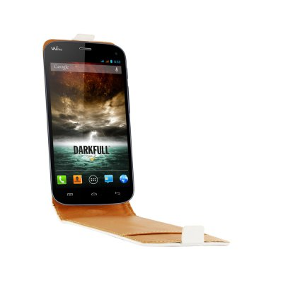 SWISS CHARGER Etui cuir blanc véritable pour Wiko Darkfull