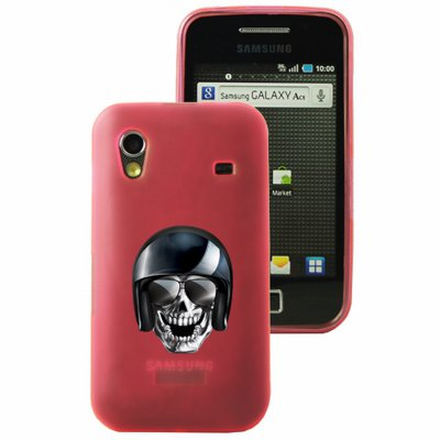 Mocca coque Gel Frost Skull Motard rose pour Samsung Galaxy Ace S5830