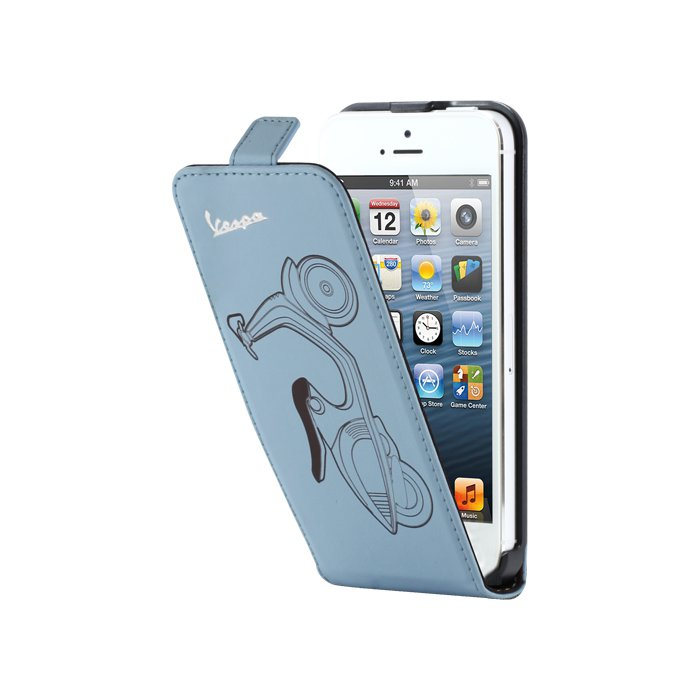 Etui coque Vespa bleu finition cuir pour iPhone 5 / 5S