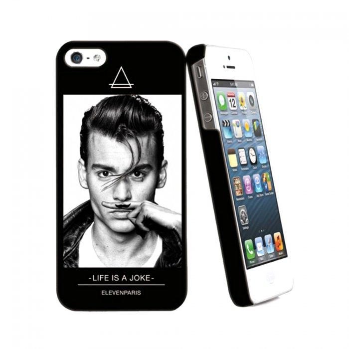 Eleven Paris coque Johnny noir toucher gomme pour iPhone 5 / 5S