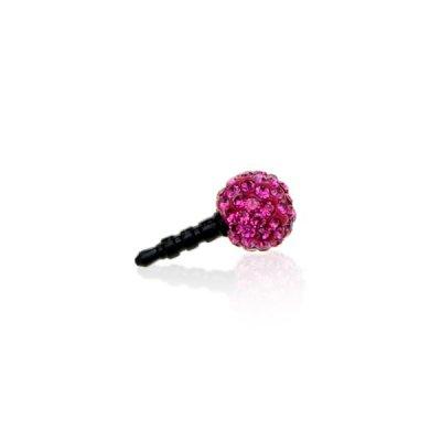 Bijoux pour mobile strass boule rose pour prise jack
