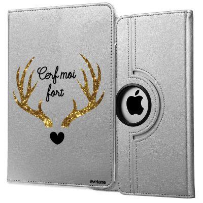 Etui iPad 2/3/4 rigide argent, Cerf Moi Fort, Evetane®