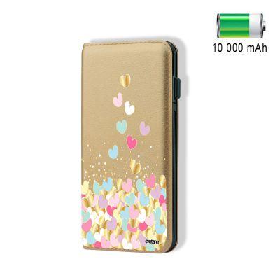 Batterie externe effet cuir grainé or 10000 mah Cœurs Pastels, Evetane®
