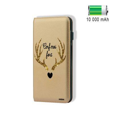 Batterie externe effet cuir grainé or 10000 mah Cerf Moi Fort, Evetane®