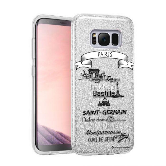 Coque souple paillettes Samsung Galaxy S8 Plus paillettes argent Quartiers de Paris Motif Ecriture Tendance La Coque Francaise - Coquediscount