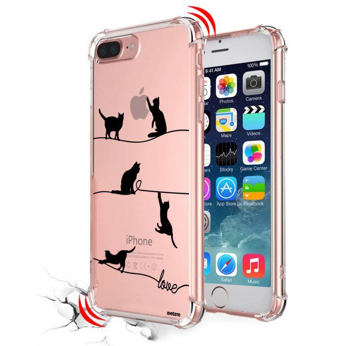 coque iphone 7 plus 8 plus anti choc souple avec angles renforces transparente chat lignes evetane