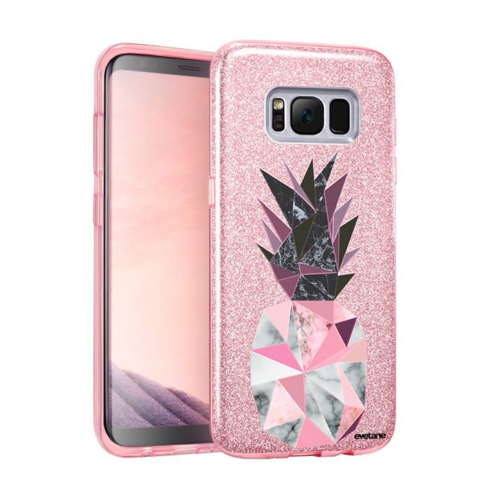 Coque souple paillettes Samsung Galaxy S8 Plus paillettes rose Ananas geometrique marbre Motif Ecriture Tendance Evetane - Coquediscount