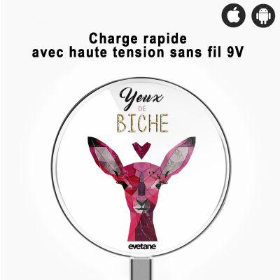 Chargeur sans fil à induction blanc Yeux De Biche, Evetane®