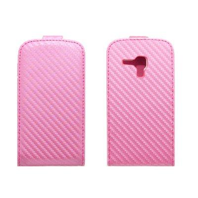 Etui Portefeuille Rabat Carbonne Rose pour Samsung Galaxy Trend S7560 / S Duos S7562