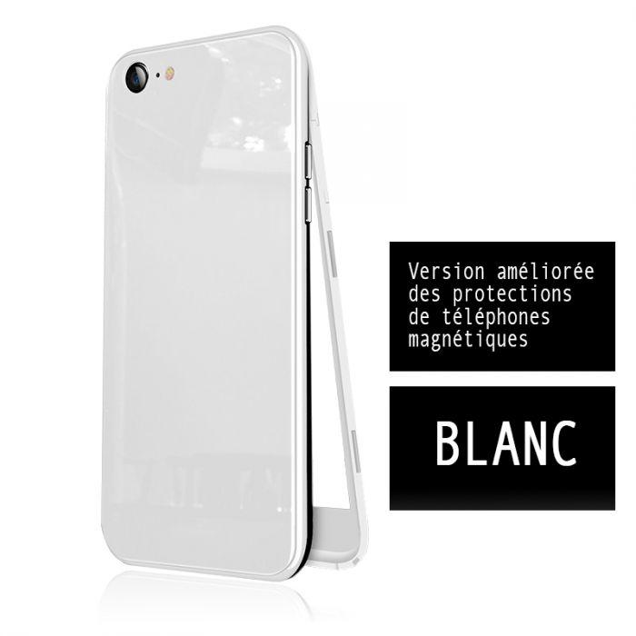 coque integrale 360 avec film anti casse en verre trempe protection coque pour iphone7 iphone 8 aimante blanc
