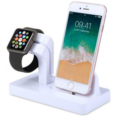 Support pour Apple Watch et iPhone - Blanc (vendu sans la montre et le téléphone)