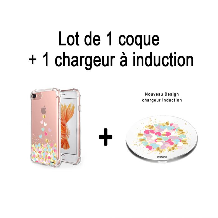 Pack :  Coque iPhone 7/8 anti-choc souple avec angles renforcés transparente, Cœurs Pastels +  Chargeur sans fil à induction bla