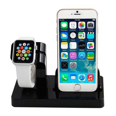 Support pour Apple Watch et iPhone - Noir (vendu sans la montre et le téléphone)