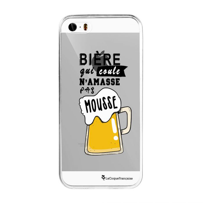 Coque iPhone 5/5S/SE 360 intégrale transparente Bière qui Coule Tendance La Coque Francaise - Coquediscount