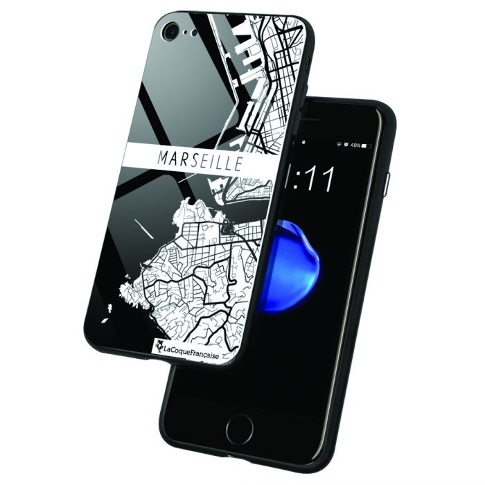 Coque en verre trempé iPhone 7/8 Carte de Marseille Ecriture Tendance et Design La Coque Francaise. - Coquediscount