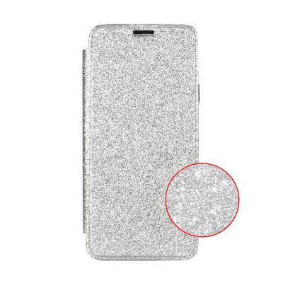 Etui de protection pailleté Argent avec coque arrière en silicone pour Samsung Galaxy S9 Plus