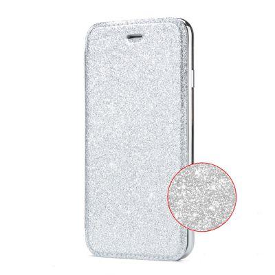 Etui de protection pailleté Argent avec coque arrière en silicone pour Samsung Galaxy S8 Plus