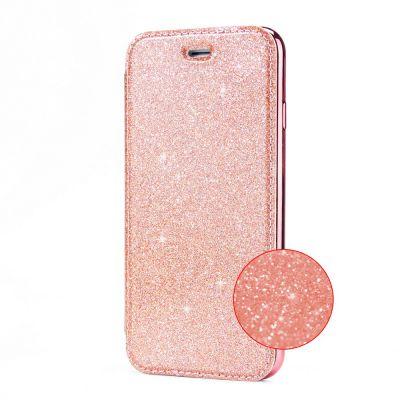 Etui de protection pailleté Rose avec coque arrière en silicone pour Samsung Galaxy S8