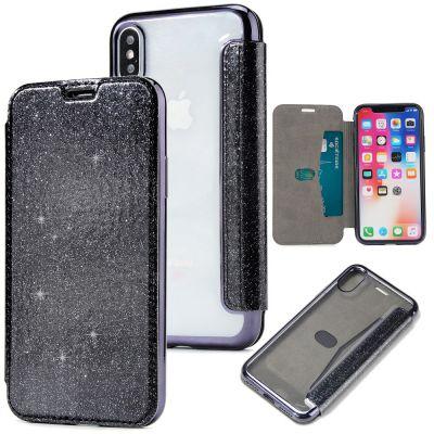 Etui de protection pailleté Noir avec coque arrière en silicone pour iPhone X