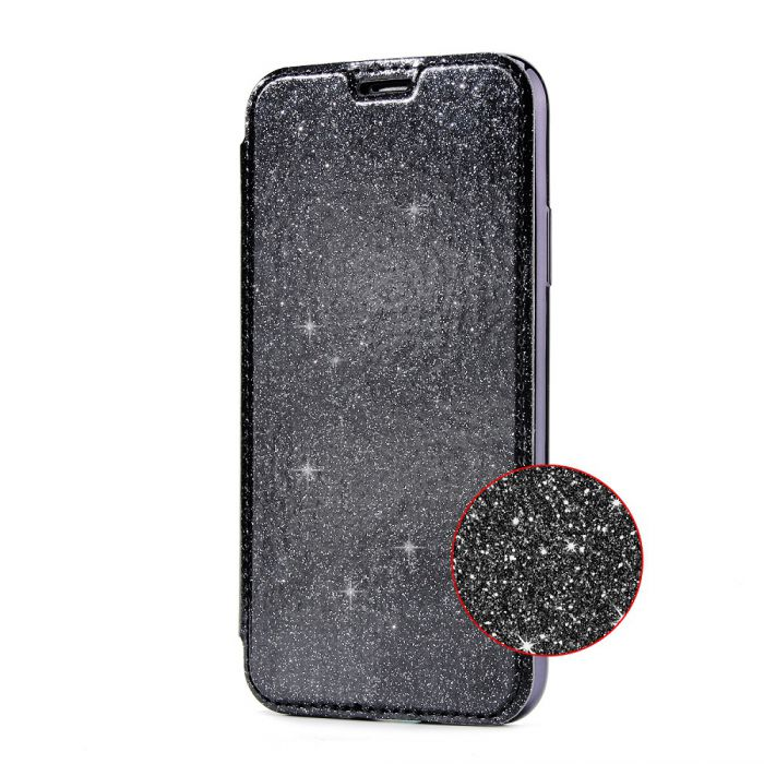 Etui de protection Noir et Paillettes avec coque arrière en silicone pour iPhone 7/8/ iPhone SE 2020