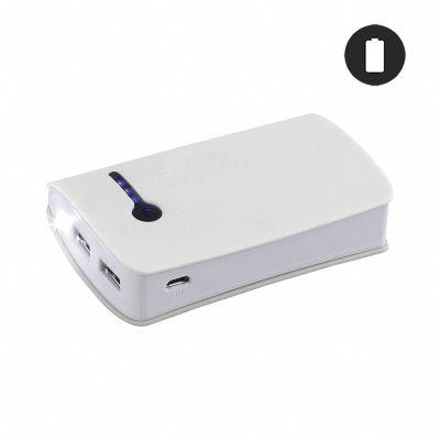 Batterie de secours blanche 6600mAh - Lampe de poche intégrée/ Double USB
