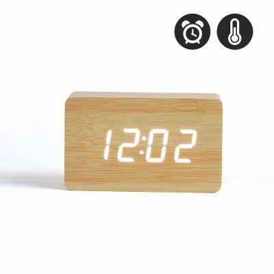 Horloge digitale aspect bois clair