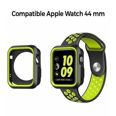 Bumper souple sport noir et vert pour Apple Watch 44mm