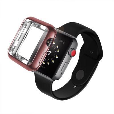 Bumper souple effet chromé rose gold pour Apple Watch 42mm