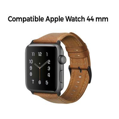 Bracelet aspect cuir camel avec finitions chromés pour Apple Watch 44mm
