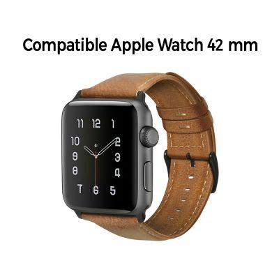 Bracelet aspect cuir camel avec finitions chromés pour Apple Watch 42mm