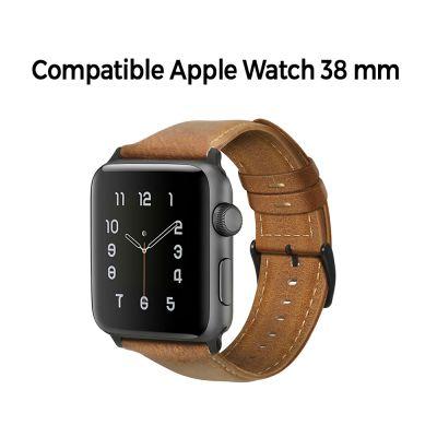 Bracelet aspect cuir camel avec finitions chromés pour Apple Watch 38mm