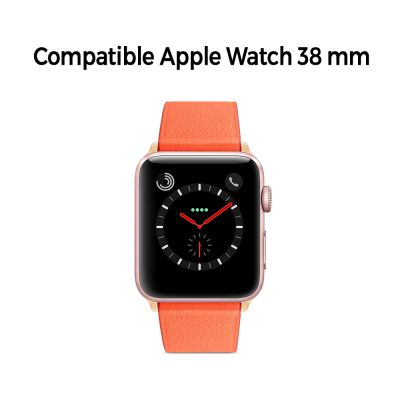Bracelet aspect cuir orange avec finitions chromés pour Apple Watch 38mm