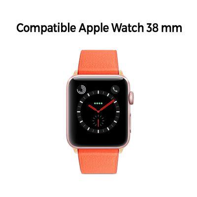 Bracelet aspect cuir orange avec finitions chromés pour Apple Watch 38mm