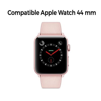 Bracelet aspect cuir rose gold avec finitions chromés pour Apple Watch 44mm