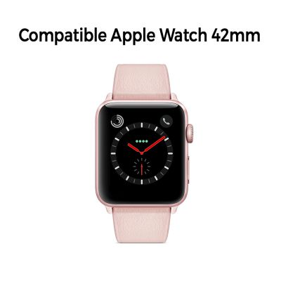 Bracelet aspect cuir rose gold avec finitions chromés pour Apple Watch 42mm