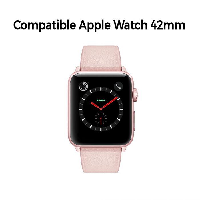 Bracelet aspect cuir rose gold avec finitions chromés pour Apple Watch 42mm