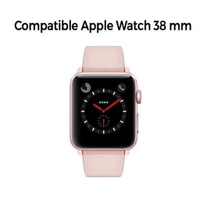 Bracelet aspect cuir rose gold avec finitions chromés pour Apple Watch 38mm