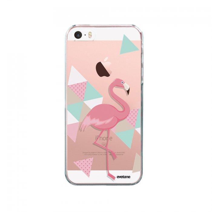 coque iphone 5 5s se souple transparente flamant rose graphique evetane