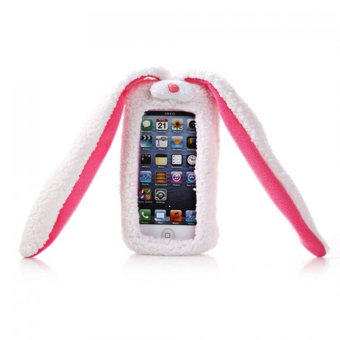 Coque doudou lapin en tissu blanc et rose pour iPhone 4 / 4S