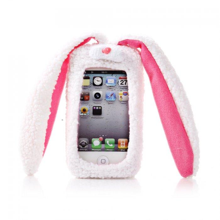 coque doudou lapin en tissu blanc et rose pour iphone 5 5s