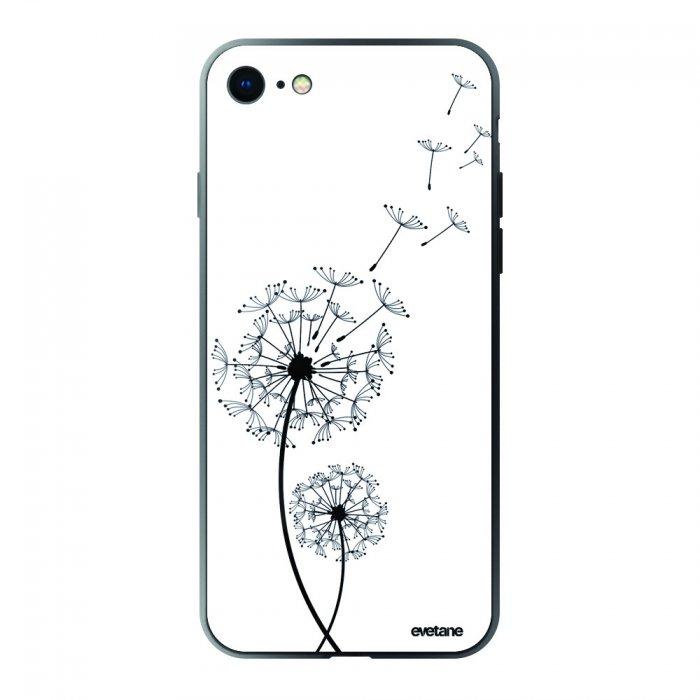 coque iphone 6 6s verre trempe bord noir pissenlit evetane