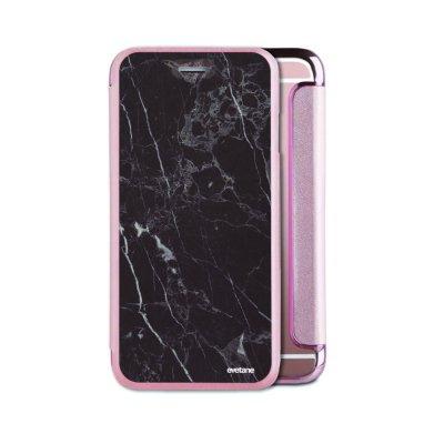 Etui iPhone 6/6S souple rose gold Marbre noir Ecriture Tendance et Design Evetane