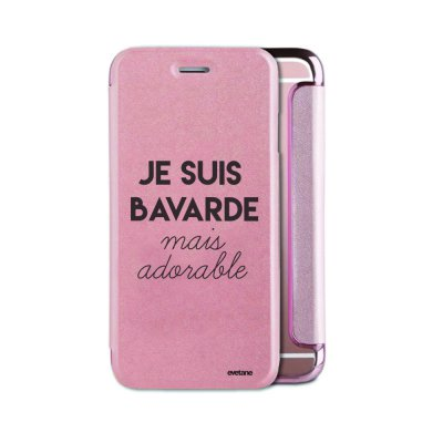 Etui iPhone 6/6S souple rose gold Bavarde Mais Adorable Ecriture Tendance et Design Evetane