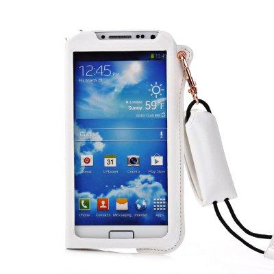 Etui pouch porte clé blanc ouverture face avant pour Samsung Galaxy S4 I9500