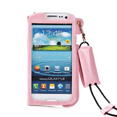 Etui pouch porte clé rose ouverture face avant pour Samsung Galaxy S3 I9300