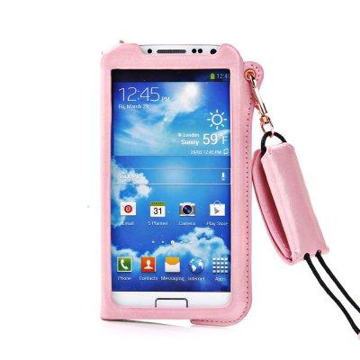Etui pouch porte clé rose ouverture face avant pour Samsung Galaxy S4 I9500