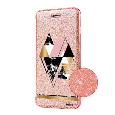 Etui Paillette iPhone 6/6S paillettes rose gold, Triangles Or, Evetane®
