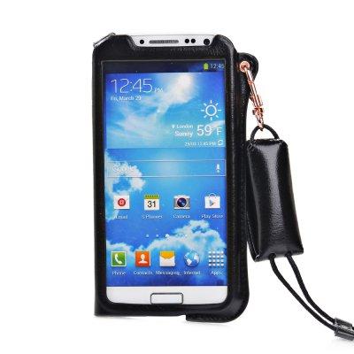 Etui pouch porte clé noir ouverture face avant pour Samsung Galaxy S4 I9500