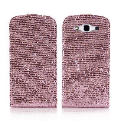 Etui clapet rose à paillettes pour Samsung Galaxy S3 I9300